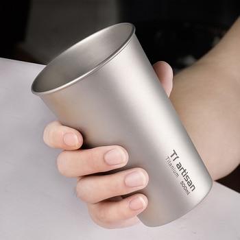 Tiartisan Beer Mug Pure Titanium Coffee Mug Single Wall Kitchen Drinkware For Kids Beer Milk Water Cup 500ml Camping Tableware 1