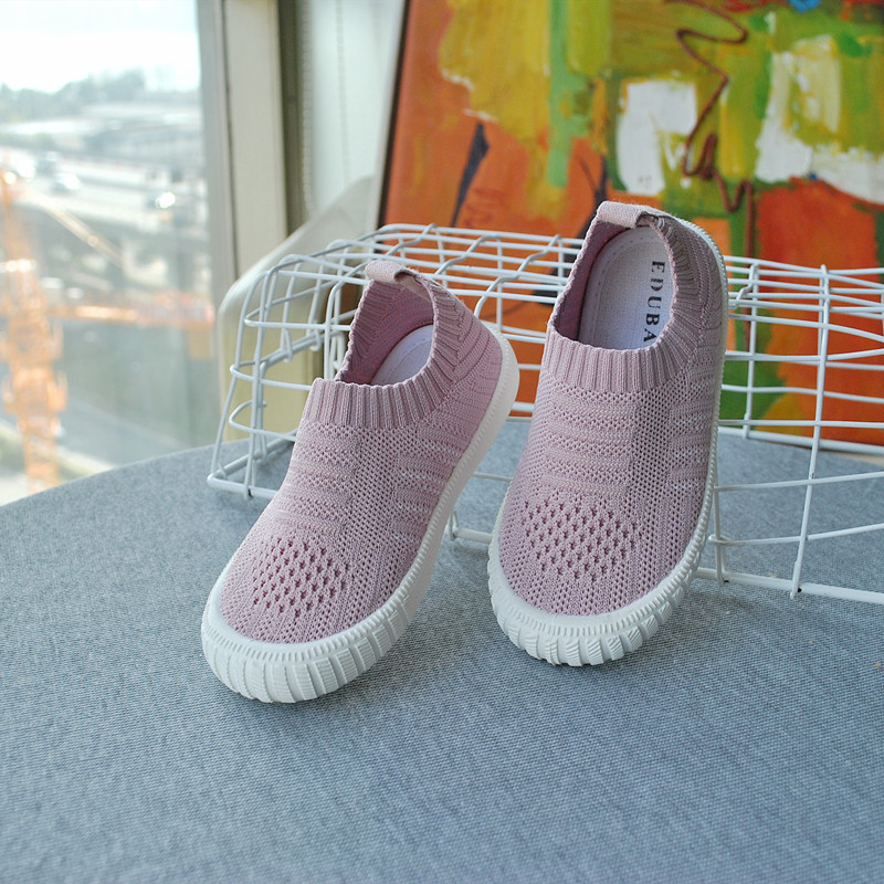 ULKNN Boys Girls Breahable Soft Bottom Shoes Autumn Children New Mesh Shoes Fly Woven White Lines Kids Sports Casual Footwear