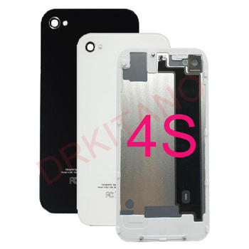 For iPhone 4S Back Housing Battery Cover A1387 Rear Glass Door Panel For Apple iPhone 4S Back Housing Case Body Replacement protective back case for iphone 4 4s silver black