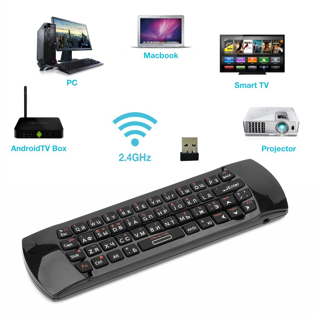 Image 2 - Rii i25A 2.4G Mini keyboard Air mouse remote control with  Earphone Jack For Smart TV Android TV Box Fire TVKeyboards   -