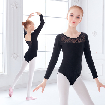 Girls Black Ballet Leotards Kids Lace Splice Dance Wear Short Sleeve Gymnastics Bodysuit for Dancing - discount item  18% OFF Stage & Dance Wear