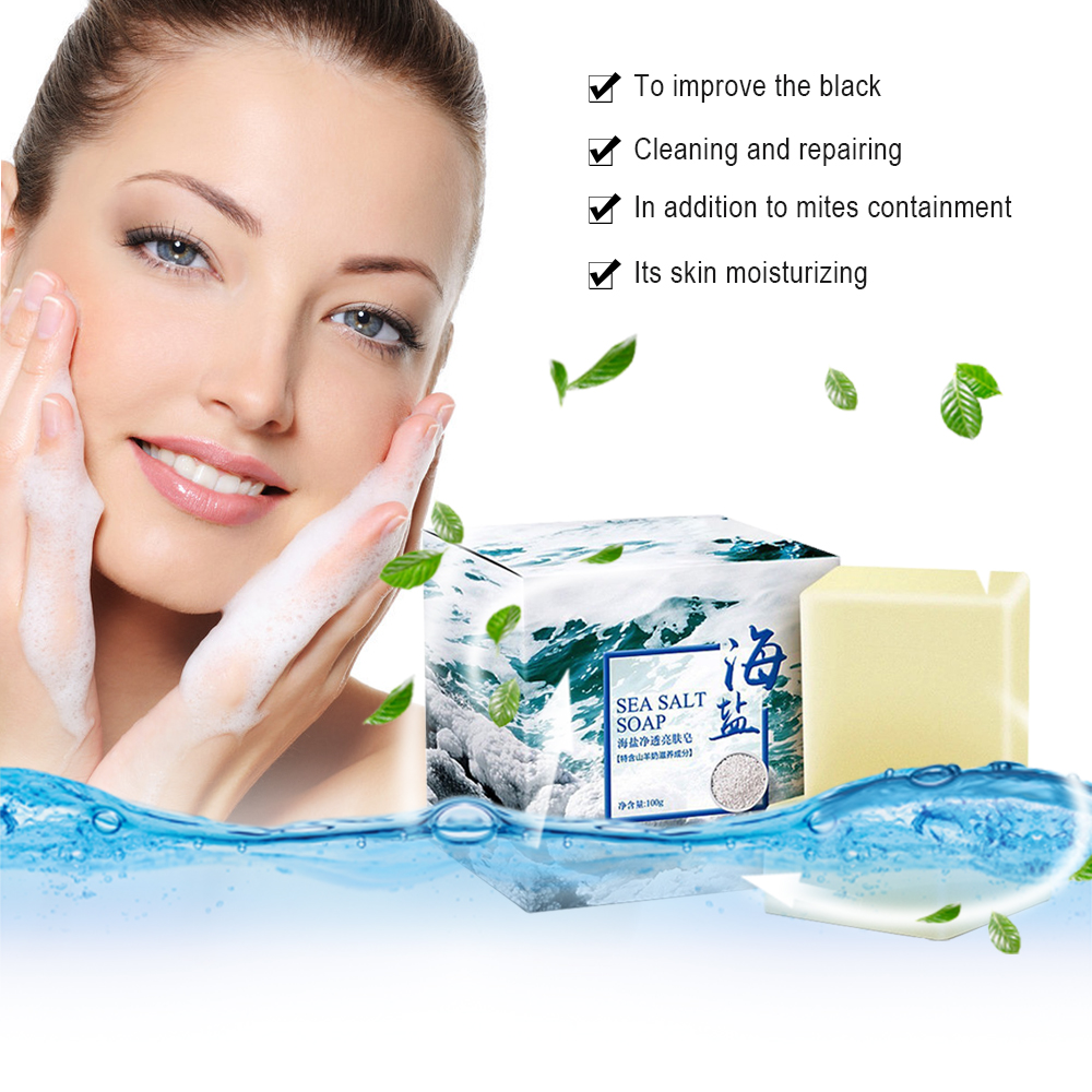 100g Natural Organic Sea Salt Soap Cleaner Removal Pimple Pore Acne Treatment Whitening Handmade Soap Deep Cleansing Wash Basis