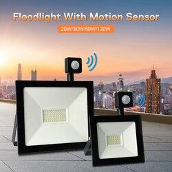 Светодиодный прожектор с датчиком движения, отражатель, Точечный светильник 20, 30, 50, 100 Вт, Светодиодный точечный светильник на открытом возд...