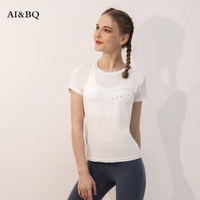 AI&BQ Women Sexy Gym Yoga Solid Color Tops Skeleton Shirt Short Sleeve Fitness Running Tops Sports T Shirt Training Sportswear