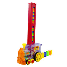 Ралли электронные ABS Игрушки Обучающие домино набор укладки детей Красочные кирпичные блоки поезд модель подарок звуковой светильник для девочек и мальчиков