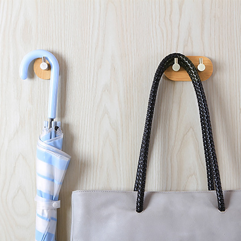 Stainless Steel Bamboo Door Hook Self Hook Stick On Wall Hanging Storage Hanger Bathroom Kitchen Closet Without Nail