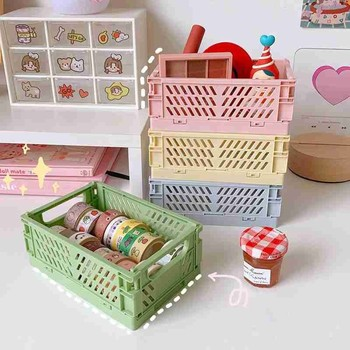 Crate Collapsible Plastic Folding Storage Box Basket Home Storage Supplies Utility Cosmetic Container Desktop Holder