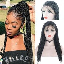 Rongduoyi Hittebestendige Vezel Haar Synthetische Lace Front Pruik Gevlochten Doos Vlechten Pruiken Voor Zwarte Vrouwen Lang Zwart Haar Kant pruiken