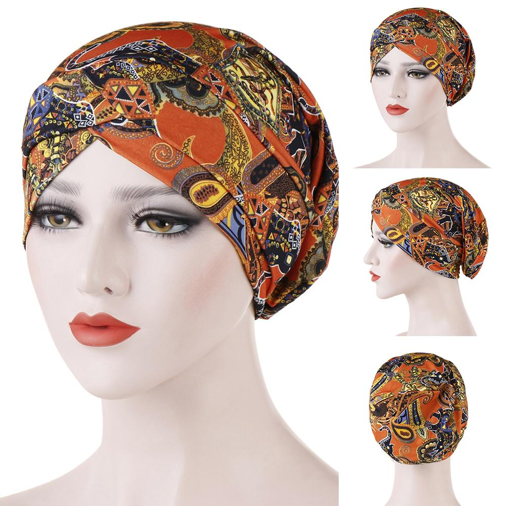 Floral Print Front Twist Cross Muslim Women Turban Hat Cap Headscarf Headwear