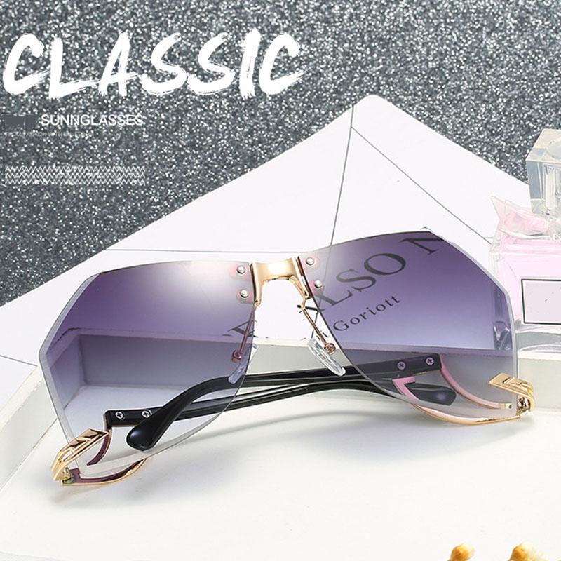 2021 New Irregular Rimless Sunglasses Women Brand Designer Alloy Frame Oversize Gradient Sun Glasses Fashion Female Clear Shades