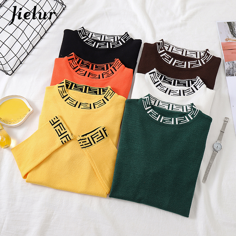 Jielur Women Sweater Solid Color Pullover Autumn O neck