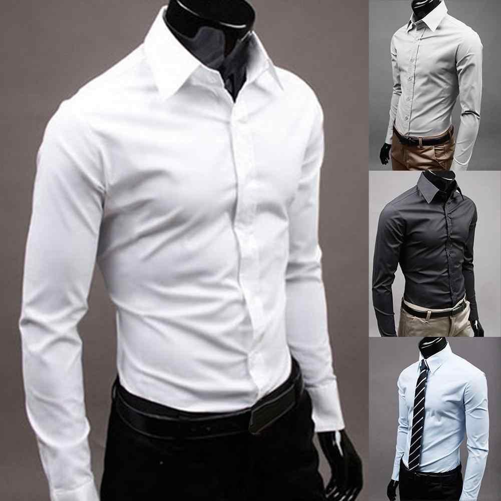 브랜드 남자 100% 코튼 긴 소매 남자 드레스 셔츠 남자 솔리드 컬러 비즈니스 긴 소매 단추는 칼라 셔츠 탑을 거절