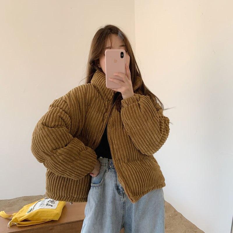 Alien Kitty 2020 Winter Fresh Corduroy Loose Zipper Thicken Oversize Warm Women Jackets Solid Outwear Casual Tops All-Match Coat