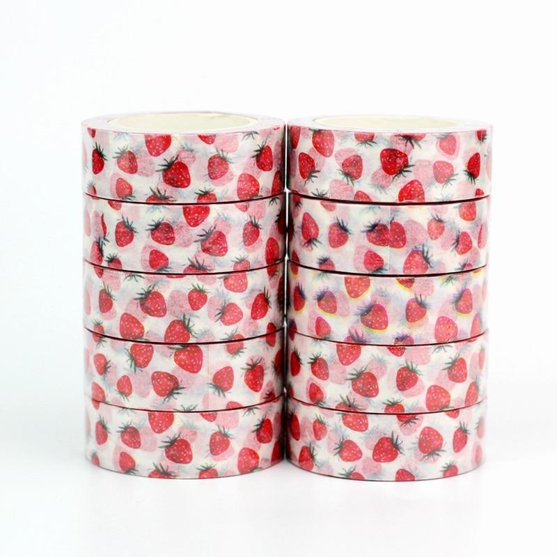 Wholesale 10pcs/lot Decor Cute Strawberry Fruit Washi Tapes DIY Scrapbooking Planner Adhesive Masking Tapes Kawaii Stationery