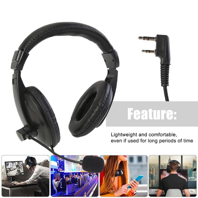 Comfortable Walkie Talkie Headset K Plug Volume Control Lightweight Widely Compatible Over Head Headphone PTT MIC Earpiece