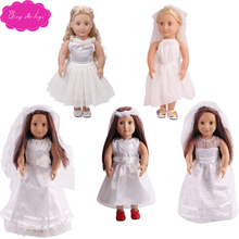18 inch Girls doll dress Delicate white lace wedding dress + scarf American newborn clothes Baby toys fit 43 cm baby dolls c86 white delicate lace mini slip dress