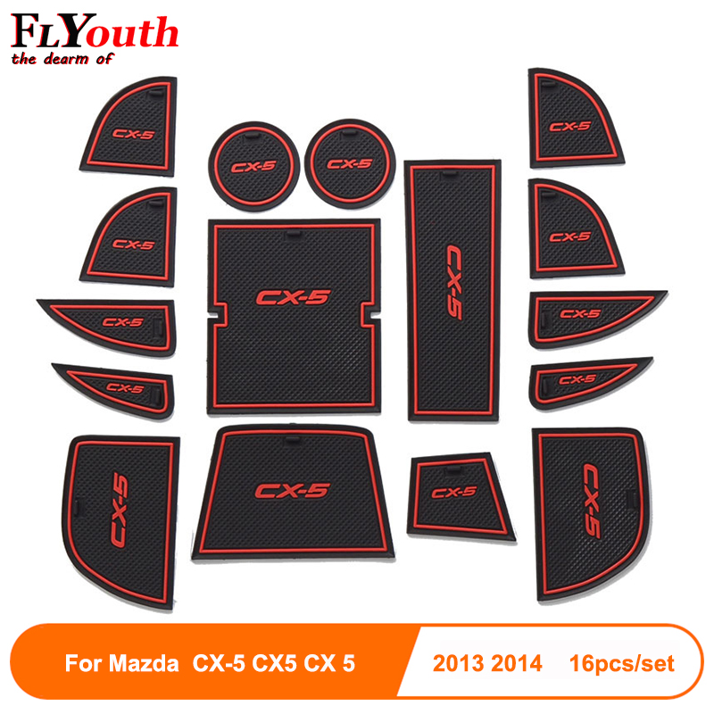 Rubber Mat Door Mat Anti-slip Cup Pad For Mazda CX-5 CX5 CX 5 2013 2014 16pcs Interior Decoration Accessory Gate Slot Pad