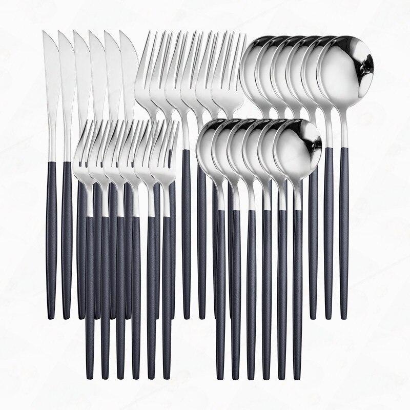 Black Silver Cutlery Set Stainless Steel Cutlery Spoon Fork Knife Dinnerware Set Tableware 30pcs Kitchen Dinner Set Flatware