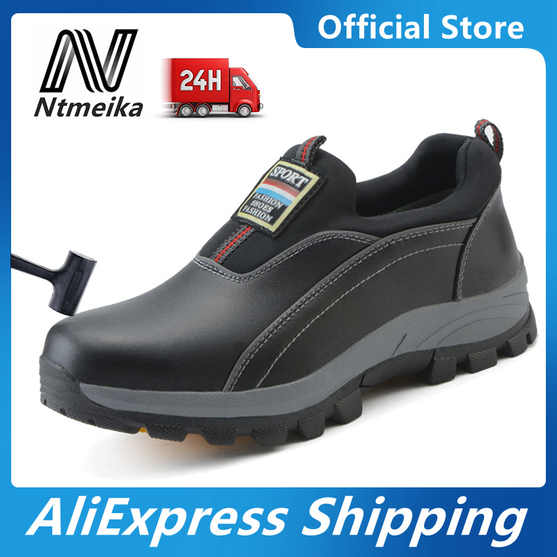 Men's Steel Toe Safety <font><b>Shoes</b></font> Cow Leather <font><b>Material</b></font> Upper and Puncture-proof Soles Slip-On Work <font><b>Shoes</b></font> image