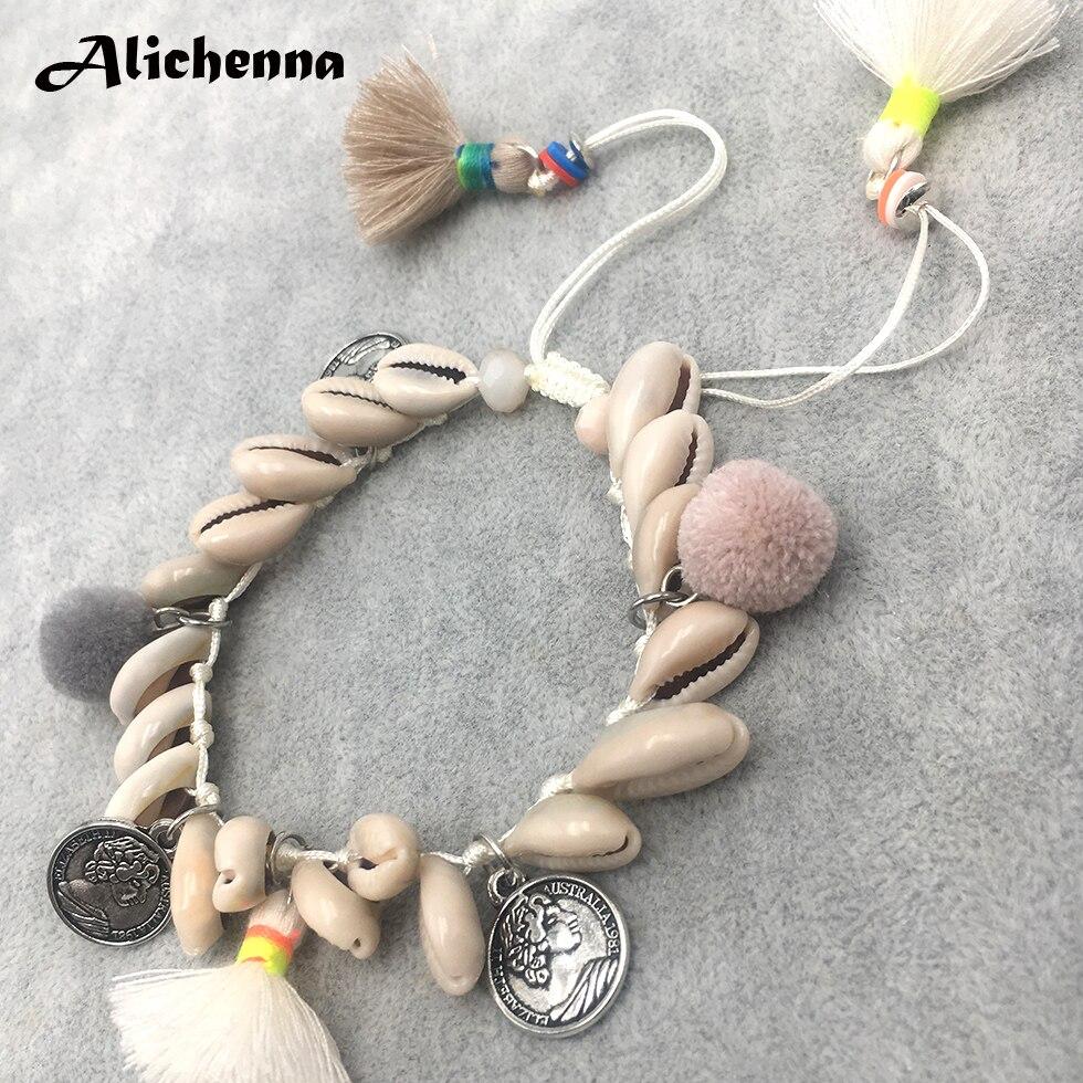 Bohemian Sea Shell Barefoot Anklets for Women Vintage Seashell Anklet Foot Rope Bracelet Tassel Alloy Beach Ankle Boho Jewelry