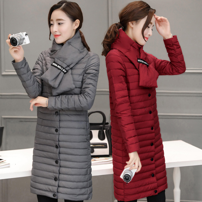 2019 Fund Scarf Fund   Down   Jackets Girls Long Fund Overknee Frivolous Will Code Self-cultivation Suit-dress Bai Yarong Loose   Coat