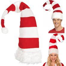 Женские красные белые полосатые длинные милые рождественские, вечерние белые рождественские шляпы