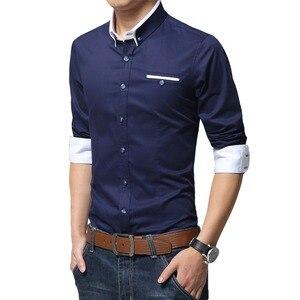Image 3 - Browon новые хлопковые мужские рубашки Повседневная рубашка с длинными рукавами и однотонные Цвет классического кроя размера плюс мужские рубашки
