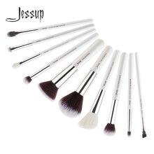 Jessup Beauty, juego de 10 Uds de brochas de maquillaje de pelo sintético de cabra, base de sombra de ojos, polvo, corrector, Kit cosmético, 5 colores
