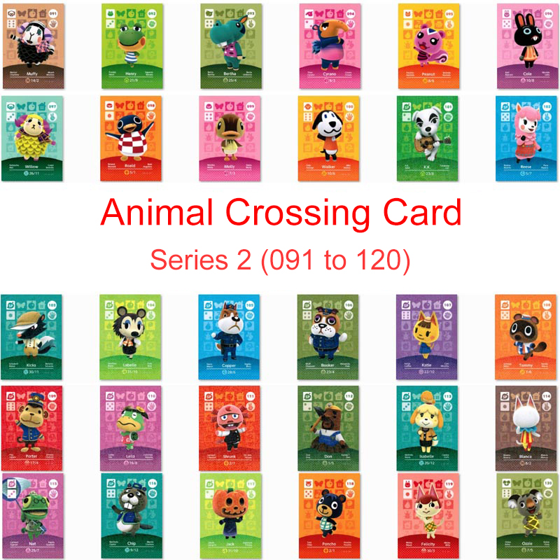 Series 2 (091 To 120) Animal Crossing Card Amiibo Card Work For NS 3DS Switch Game New Horizons Peanut Muffy Roald Molly Card