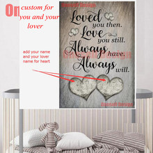 2 custom add your and lover name add heart diamond painting full square 5d diamond embroidery decor home livingroom wall sticker