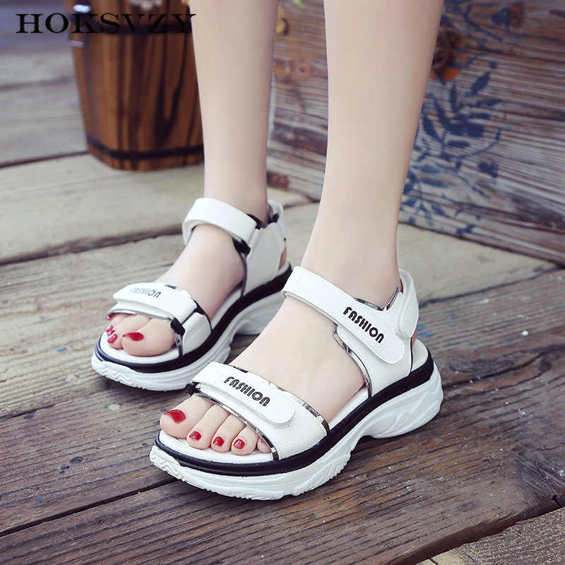HOKSVZY 2019 New Muffin Platform Sandals Female Summer Wild Magic Stickers Beach Roman Sandals Women SGLL-K812