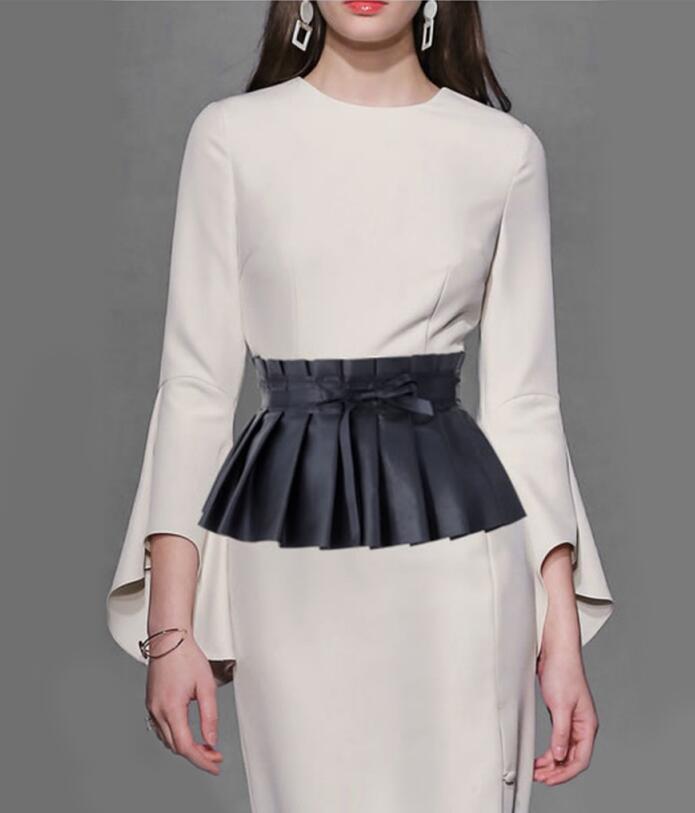 Fashion Spring Autumn Women Black Elegant Pleated Soft Faux Leather Wide Belt Self Tie Wrap Waistband Skirt Peplum Waist Belt