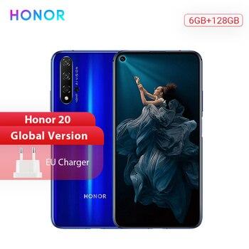 Перейти на Алиэкспресс и купить Honor 20 глобальная версия смартфона 6G 128G Kirin 980 Восьмиядерный 48 МП четыре камеры 6,26 ''мобильный телефон SuperChange Google Play NFC