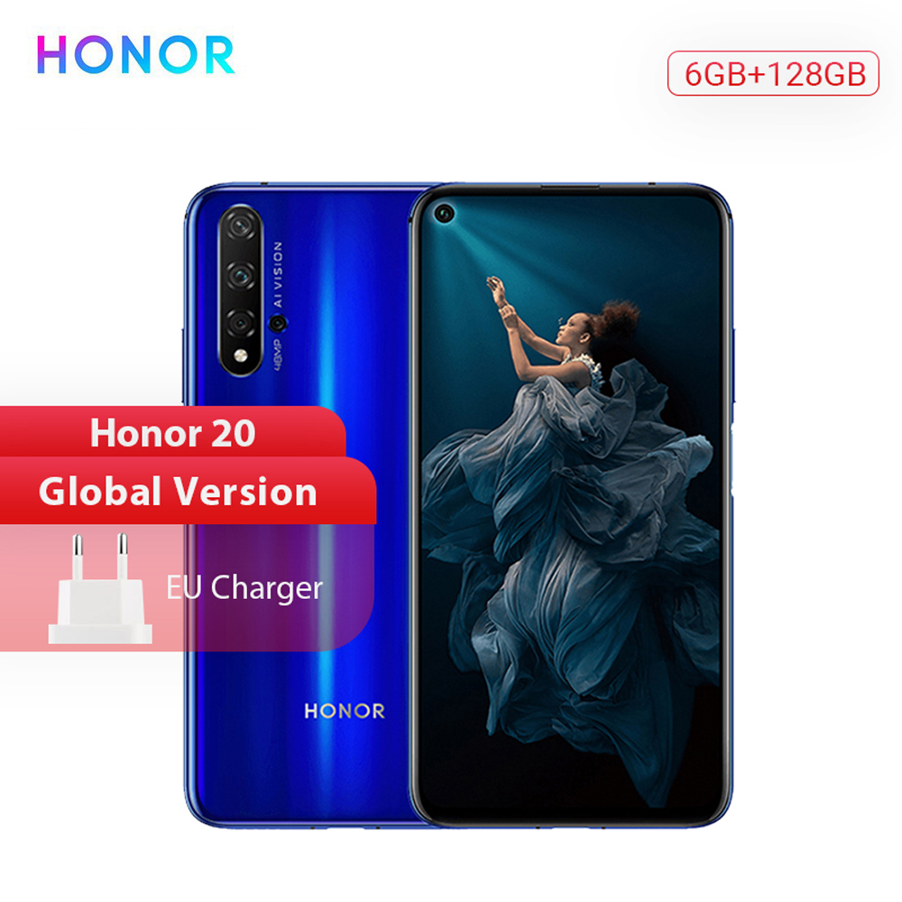 "Huawei Honor 20 Global Version Smartphone 6G 128G Kirin 980 48MP Four Cameras 6.26"" Mobile Phone SuperChange Google Play NFC"