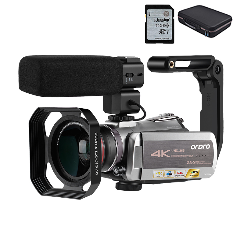 Camcorder 4K Video Camera Filmadora ORDRO AZ50 64X Digital zoom 30FPS Night Vision Videocamara with Microphone Stabilizer image