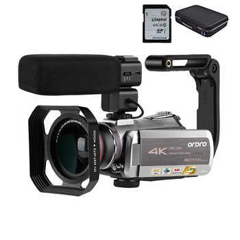 Videocámara 4K Filmadora ORDRO AZ50 64X zoom Digital 30FPS visión nocturna Videocamara con estabilizador de micrófono