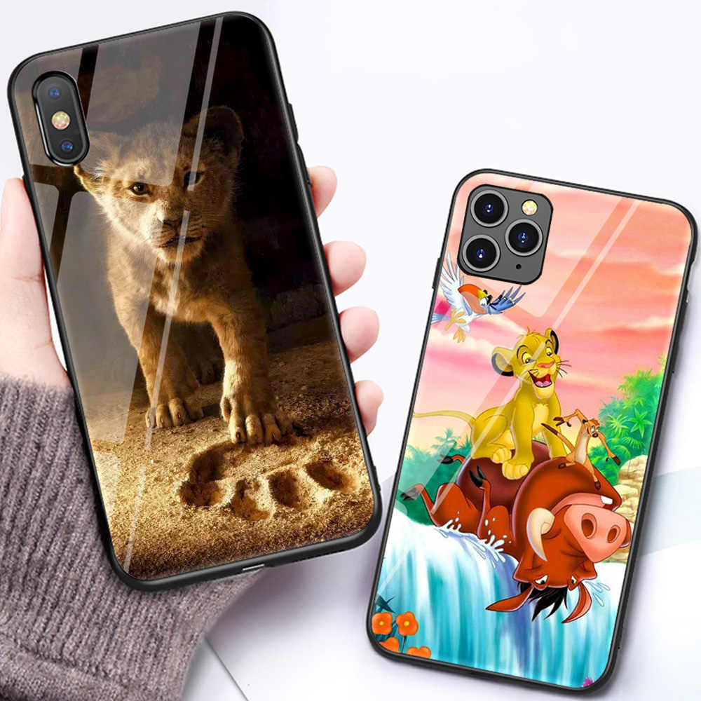 Funda de cristal The lion king para iphone 11 pro max xs x xr 8 plus 7 7plus 6 6s, funda de dibujos animados iphone 7 8 plus, funda trasera a prueba de golpes