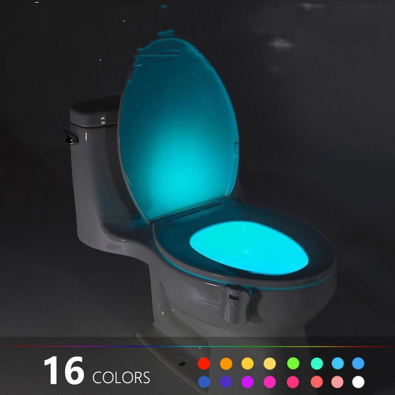 16/8 Color Backlight For Toilet Bowl WC Toilet Seat Lights With Motion Sensor Smart Bathroom Toilet Night Light LED Toilet Light