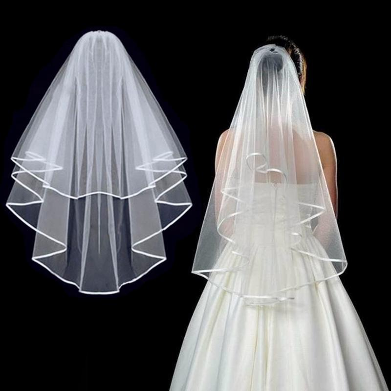 Wedding Simple Tulle White Color Two Layers Bridal Veil Ribbon Edge Cheap Bride Accessories Women Veil