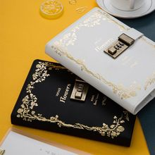 B6 Retro Notebook with Password Lock Leather Cover Traveler Diary Planner Agenda School Supplies Gift Stationery lovedoki traveler s notebook golden flower hot stamping cover 2018 personal diary planner gift stationery store school supplies
