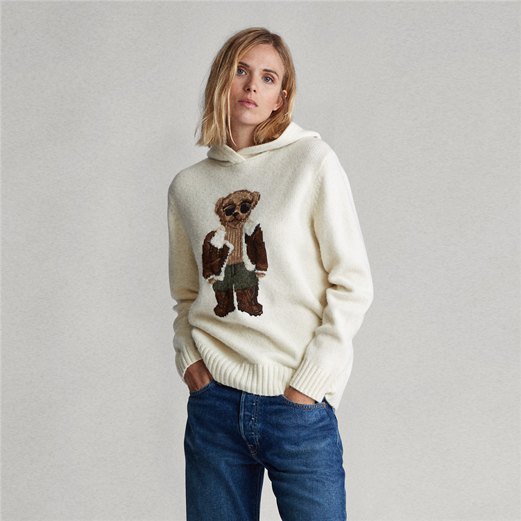 2019 New Pilot Polo Bear Jacquard Loose Slouchy Style Pullover Hooded Knitted Sweater Women Sa1140