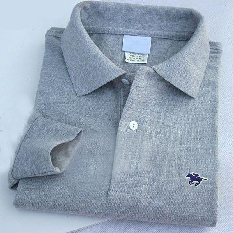 100% Cotton XS-4XL Autumn Mens Polos Shirts Long Sleeve Casual Mens Small Horse Solid Color Lapel Polos Shirts Fashion Mens Tops