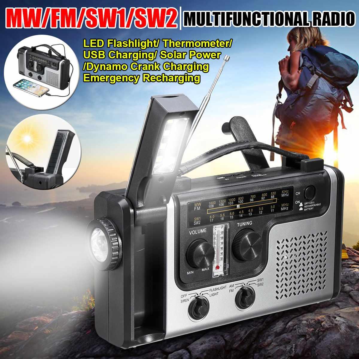 Multifunctional Solar Power Radio Solar MW/FM/SW1/SW2 Thermometer Radio Use Emergency LED Flashlight and USB Charging