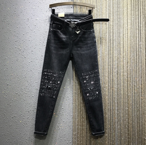 European Style Jeans Women 2020 Spring New High Waist Stretch Slim-Fit Knee Hot Drilling Denim Pencil Pants Spodnie Damskie