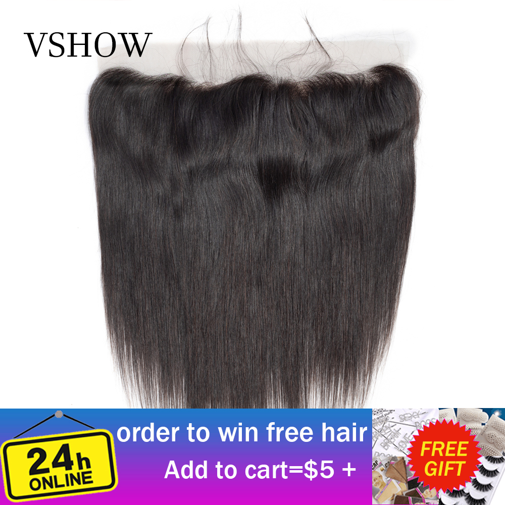 VSHOW 13X4 Pre Plucked Straight Lace Frontal Closure 130% Lace Frontal 8-20 Inch Natural Color 100% Remy Human Hair Extensions