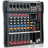 Studio o Sound Mixing Console Bluetooth USB Record Computer Playback Phantom Power Effect 6 Channel o Mixer(EU Plug)