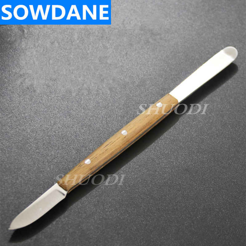 Dental Lab Spatula Stainless Steel With Wooden Handle Mixing Spatula Blade Instrument Tool