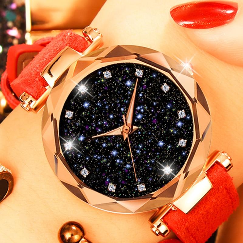 Dropshipping Starry Sky Women Watches New Elegant Luminous Casual Leather Watches Luxury Rose Gold Quartz Clock relogio feminino