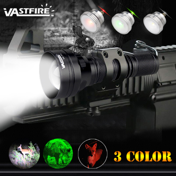 цена на VA-711 Zoomable 1 Mode 400 Yard 3 Light color (Green/Red/White) LED Rechargeable Tactical Hunting Flashlight For 18650 battery