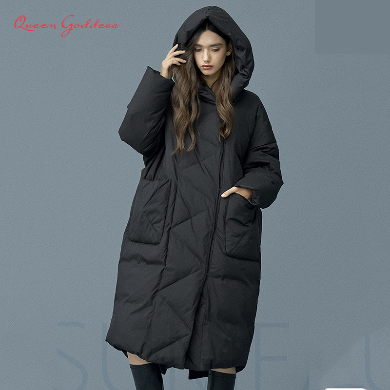 2019 Winter Casual Loose Cocoon Style Thick Warm Outwear Women Super Long Down Jacket Big Pock &Full Sleeve Fashion Female Coat